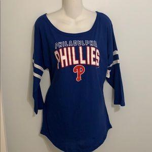 Ladies Small Philadelphia Phillies 3/4 sleeve Top